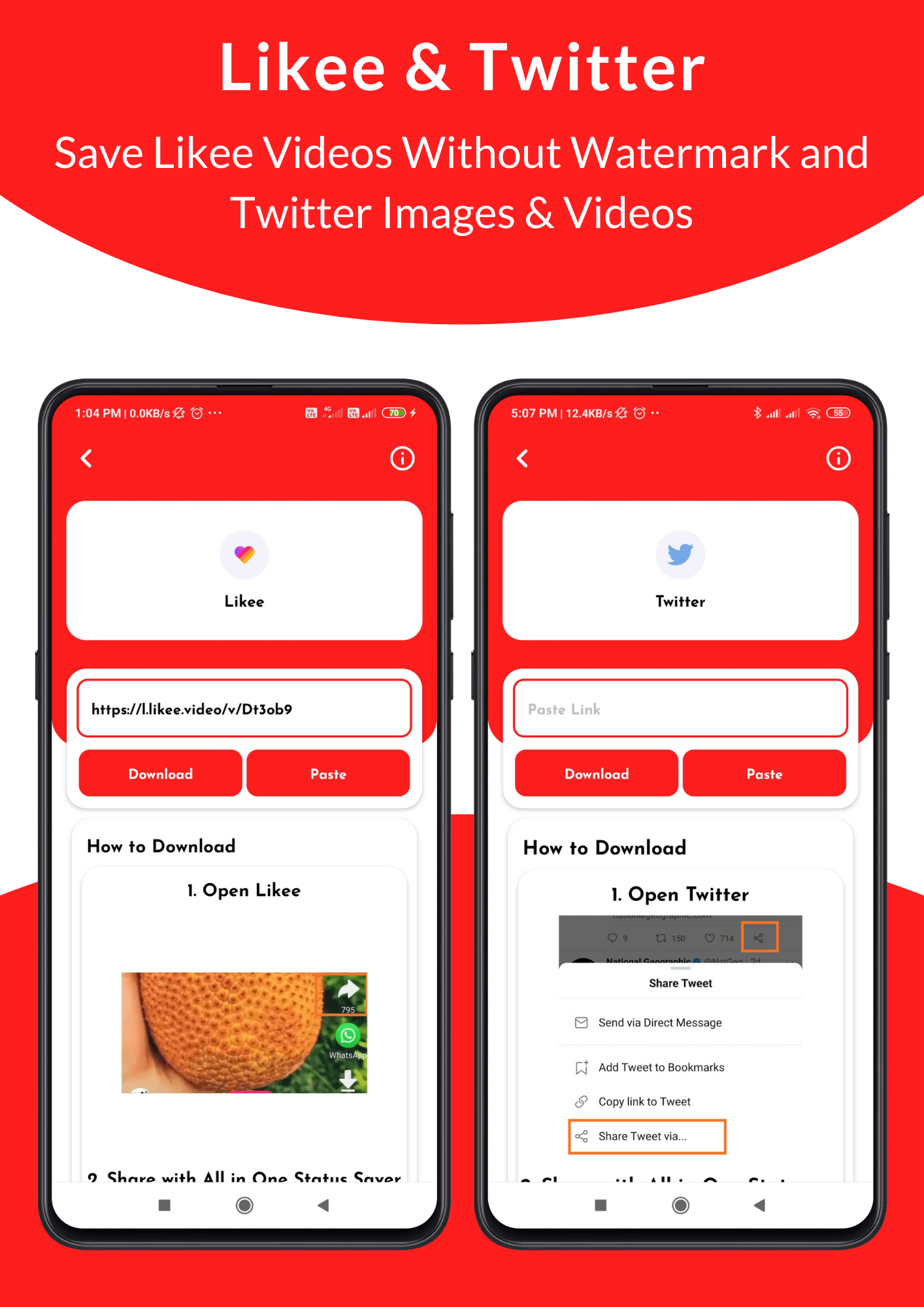 All in One Status Saver - SnackVideo, ShareChat, Roposo, Likee, Whatsapp, FB, Insta, TikTok, Twitter - 5